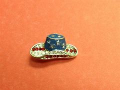 Rhinestone Cowboy Hat USA Pin