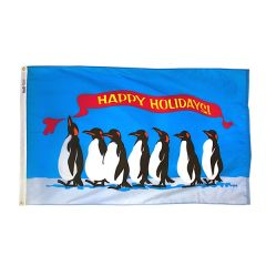 Happy Holidays Penguins Flag