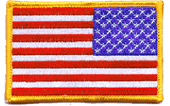 United States Flag Patch Gold Border Reversed
