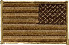 United States Flag Patch Brown Reversed