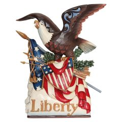 Jim Shore Eagle Holding Flag - Musical