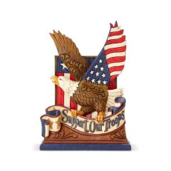 "Jim Shore Support our Troops Eagle - ""Heroes Wear Combat Boots"" Figurine"