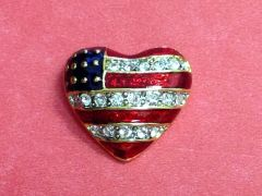 Rhinestone Heart USA Pin