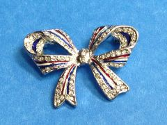 Rhinestone Large Bow USA Pin