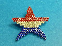 Rhinestone Red White and Blue Star Pin