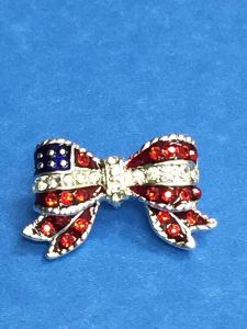 Rhinestone Silver Bow USA Pin