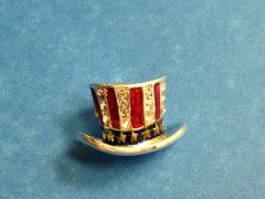 Rhinestone Top Hat USA Pin