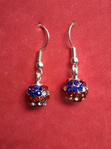 Rhinestone American Flag Ball Earrings