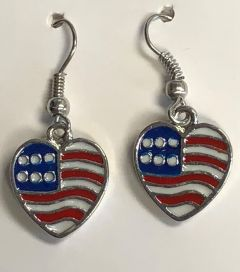 Patriotic USA Flag Earrings - Dangling Hearts