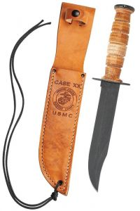 Case Grooved Leather USMC Knife with Leather Sheath