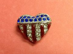 Rhinestone Silver Heart USA Pin