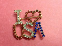 Rhinestone I Love USA Pin