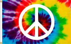 Peace Sign Flag With Tie Dye Background