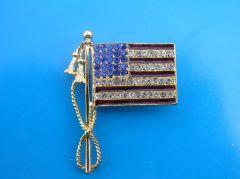 Rhinestone American Flag Lapel Pin