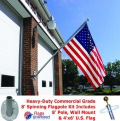 Spinning Flagpole USA Kit -8ft Heavy-Duty Pole