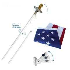 Spinning Flagpole USA Kit WITH Solar Light - Annin Brand
