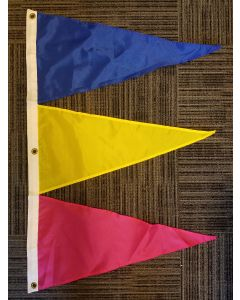 Tri-Pennant Nylon Flag - 3'x2' - Royal Blue/FM Yellow/Magenta