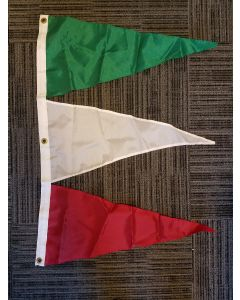 Tri-Pennant Nylon Flag - 3'x2' - Green/White/Red