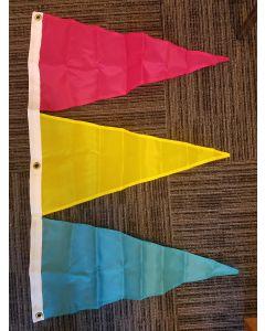 Tri-Pennant Nylon Flag - 3'x2' - Magenta/FM Yellow/Parrot Blue