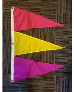 Tri-Pennant Nylon Flag - 3'x2' - Magenta/FM Yellow/Violet