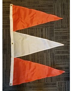 Tri-Pennant Nylon Flag - 3'x2' - Orange/White/Orange