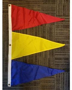 Tri-Pennant Nylon Flag - 3'x2' - Canada Red/FM Yellow/Deep Blue