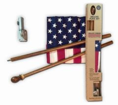 USA Flag Kit Cotton With Mahogany Pole
