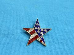 Rhinestone Star USA Pin