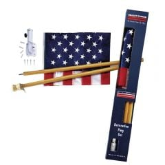 U.S. Flag Kit 2.5'x4' Flag - 5-Foot Wood Pole