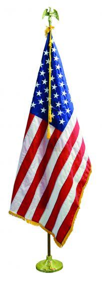 US Flag Indoor Presentation Set with 7 ft Nylon Oak Flag Deluxe 3 ft x 5 ft