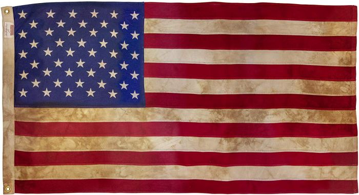Tea Dyed Heritage 50 Star American Flag Us Flags